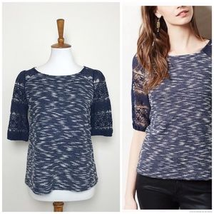 Anthro POSTMARK Parrell Navy Blue Lace Sleeve Top!